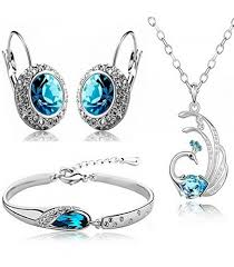 blue crystal necklace set images Valentine gift by shining diva blue crystal combo jewellery of png