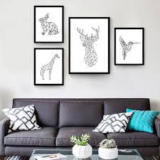 canvas bird art promotion shop for promotional canvas bird art on impression nordic minimalist triptych geometric animals rabbit giraffe deer bird art canvas prints wall posters for home decor
