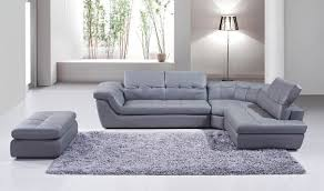 Sectional Sofa With Chaise 397 Italian Leather Sectional Sofa With Ottoman In Grey Free
