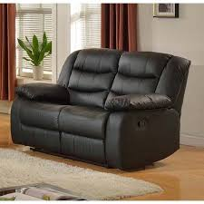 Faux Leather Recliner Layla Black Faux Leather Reclining Loveseat Walmart