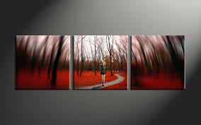 home decor prints 3 piece modern red forest canvas artwork