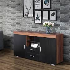 Dining Room Furniture Sideboard Black Sideboard Cupboard Cabinet With 2 Doors 2 Drawers Dining