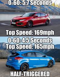 Ford Focus Meme - congratulations to the new honda civic type r for achieving