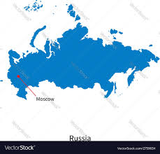 Moscow Russia Map Detailed Map Of Russia And Capital City Moscow Vector Image