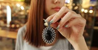 black stone pendant necklace images Sweet simple design black oval bead pendant necklace 0002372 jpg
