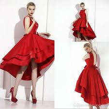 little red high low tea length short cocktail dresses 2017 new