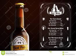 alcohol vector menu template for beer and alcohol vector stock photo image