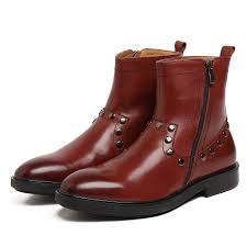 fashion zipper brown tan black pointed toe motorcycle oots mens