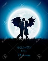 dark halloween background dark halloween night with enamored couple of angel and devil