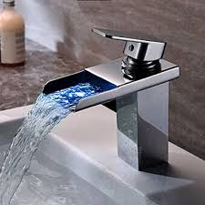 Waterfall Bath Faucets Contemporary Chrome Finish Single Handle One Hole Waterfall
