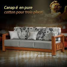 canape en canapé en tissu 3 places gris avec support en bois