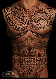 men chest and front body cover with amazing tribal tattoo