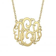 large monogram necklace large scripted monogram necklace 40mm personalized jewelry