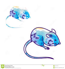 rat mouse sketch the drawing in color watercolor 0 stock