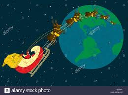 santa delivering presents santa claus flying around the world in