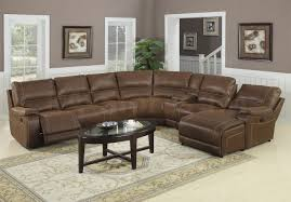 beige and brown leather fabric sectional sofa with chaise