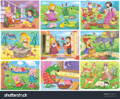 set fairy tale pictures cinderella frog stock illustration