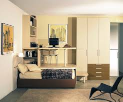 White Cream Bedroom Furniture Brown Leather Bed Combined With High White Wooden Wardrobe And