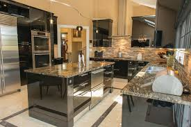 high gloss black kitchen contemporary with beige wall rectangular
