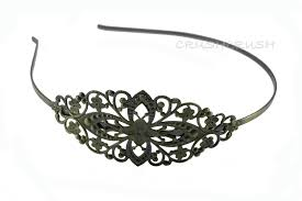 metal headbands 2pcs antique brass filigree metal headbands with bent end h10 on