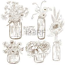 sketch set of isolated mason jars and bottle with flowers wedding