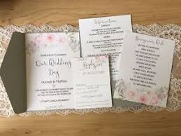 pocket fold grey floral pocket fold wedding invitation honeymoon wish rsvp