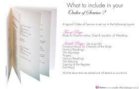 wedding ceremony layout made with order of service booklets wording templates