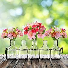 Crystal Flower Vases Small Bud Glass Vases In Black Metal Rack Stand Window Sill