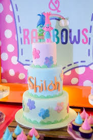 kara u0027s party ideas trolls cake from a colorful trolls birthday