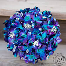 purple and blue wedding purple blue galaxy orchid wedding bouquet real touch wedding