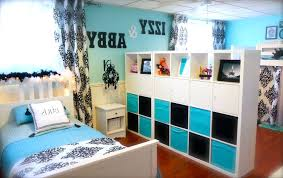 bedroom stunning teenage shared cream decoration using dark blue