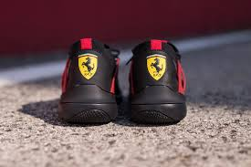 ferrari yellow and black scuderia ferrari x puma evo cat lace sneakers hypebeast