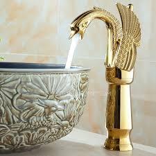 Luxury Bathroom Faucets Design Ideas Luxury Gold Swan Design Vessel Bathroom Sink Faucet