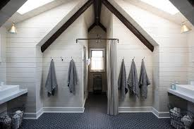 Interior Shiplap Shared Attic Kids Bathroom With Vaulted Ceiling And Skylights