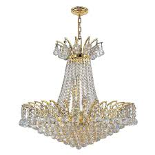 Crystal Chandelier Worldwide Lighting Empire Collection 15 Light Polished Gold And