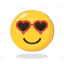 cute smiling emoticon wearing heart sunglasses cartoon isolated