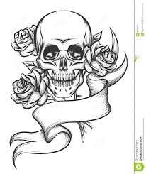 skull ribbon skull ribbon and roses tattoo designs