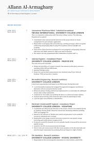 Electronics Engineer Resume Sample by Warehouse Resume Samples Visualcv Resume Samples Database