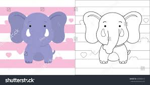 coloring page cute little elephant education stock vector