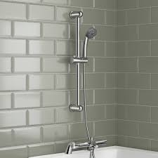 bath shower mixer thermostatic valve tap dual round over head