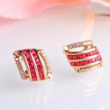 ruby stud earrings aliexpress buy robira high quality ruby stud