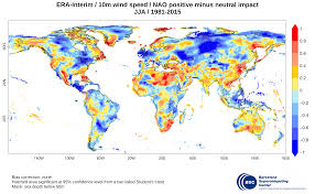 Wind Speed Map Era Interim Seasonal Nao Impact On 10m Wind Speed And 2m