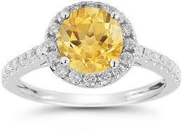 citrine engagement rings citrine and diamond halo gemstone ring in 14k white gold