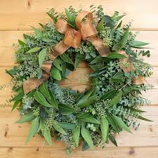 Wreaths Wholesale Mixed Eucalyptus Wreath Adorned With A Copper Toned Ribbon