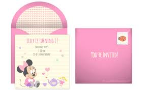 How To Make Minnie Mouse Invitation Cards Baby First Birthday Party Invitations Registaz Com