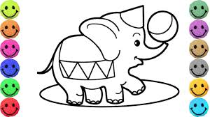coloring pages circus elephants drawing for kids learn colors