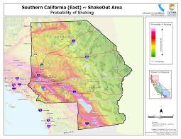 Washington State Earthquake Map by The Great California Shakeout Inland Southern California Area