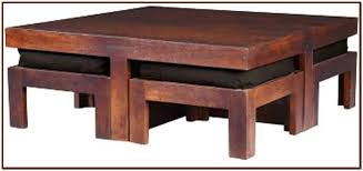table with stools underneath coffee table with stools for your home lovers throughout tables plan