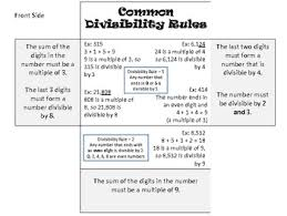 free divisibility rules math foldable for the classroom