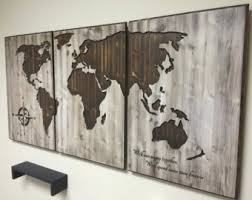 3 panel wood wall wall designs world map wall world map home decor wood